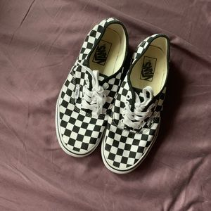 Vans-Classic Black and White lace up tennis shoes